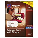Blank Printer-Compatible Tags With Strings, 2 x 3 1/2, White, 96/Pack, Sold as 96 Each