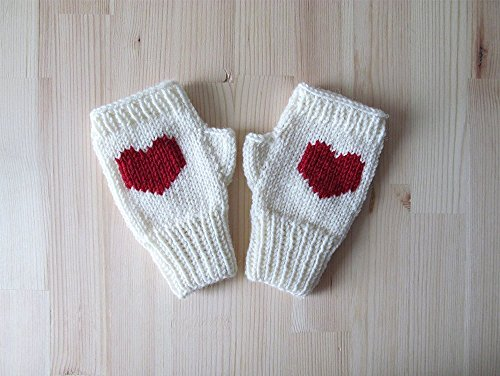 Knit Fingerless Gloves in Ivory, Dark Red Embroidered Heart, Heart Knit Gloves, Fingerless Mittens, Arm Warmers, Wool Blend