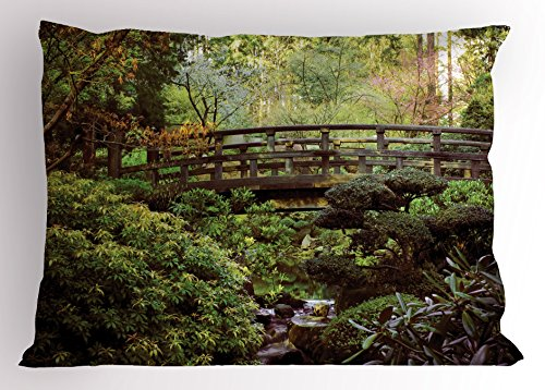 Japanese Pillow Sham by Lunarable, Wood Bridge in Forest Serene Arboretum Relax Rest Spiritual Route Peace Landscape, Decorative Standard King Size Printed Pillowcase, 36 X 20 Inches, Green - Stores Arboretum In