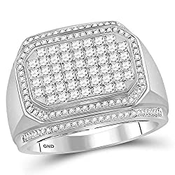 14KT White Gold Men's Round Diamond Octagon Cluster Ring 1.60 Cttw