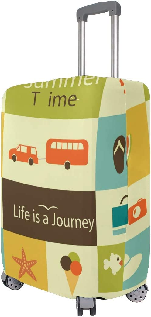 GIOVANIOR Cartoon Summer Time Luggage Cover Suitcase Protector Carry On Covers