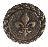 Fleur De Lis Button. Antique Brass finish. Size 5/8""