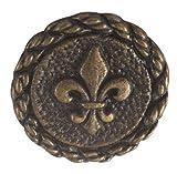 """Fleur De Lis Button. Antique Brass finish. Size 3/4"""" (18mm)"""