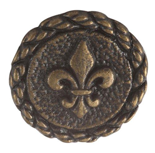 Buttons Fleur De Lis Antique Brass finish. Size 23/32