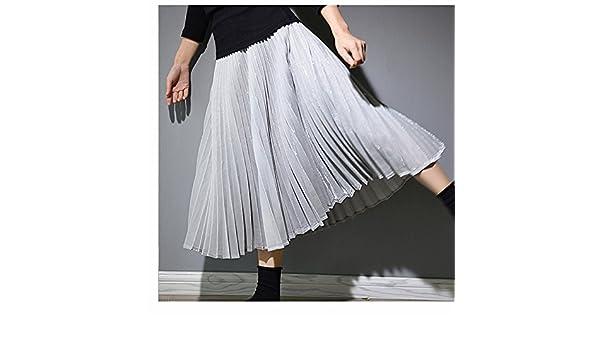XiaoGao El Nuevo Larga Falda Falda Plisada Metalizada,S Gris ...