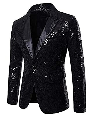 Mens Fashion Sequins Dress Coat - Slim Fit Party Jacket Shiny Wedding Suit Blazer