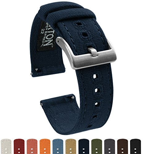 BARTON Canvas Quick Release Watch Band Straps - Choose Color & Width - 18mm, 20mm, 22mm - Navy Blue 22mm
