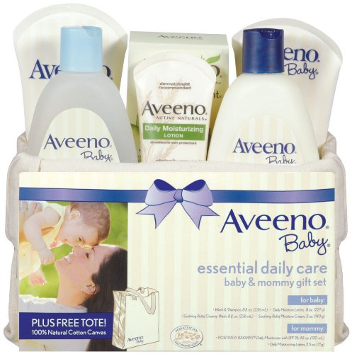 Aveeno Baby Gift Set, Daily Care Essentials panier, Bébé et Maman ensemble-cadeau