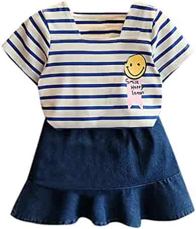 06d8e73a0863 Baby Toddler Girls Summer Clothes Outfits 2-7 Years Old Kids Short Sleeve  Stripe Shirt
