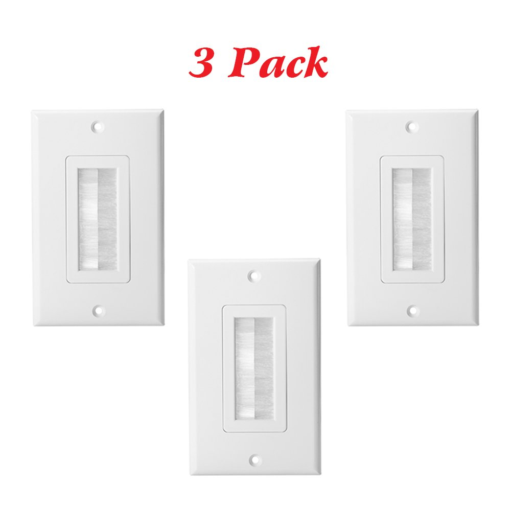 HONGYE 3-Pack Single Brush Wall Plate Pass Through Insert Switch Device Mount Decorative Wall Plate for Home Installations HDTV HDMI Home Theater Systems (White)
