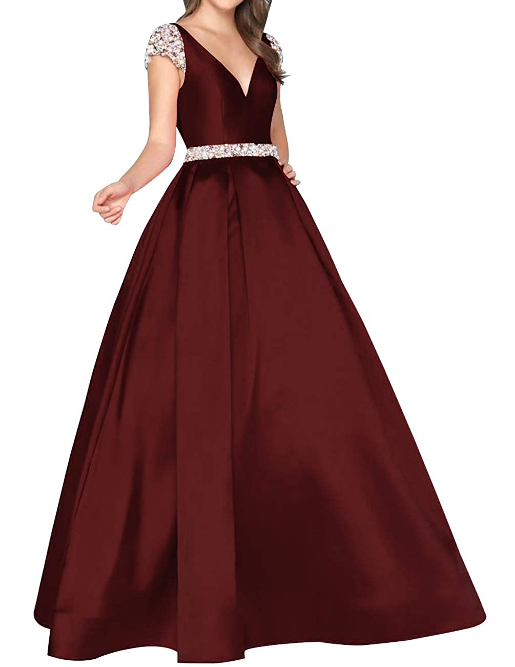 Burgundy Homdor Beaded Prom Dresses Long Cap Sleeve Backless ALine Satin Evening Ball Gowns