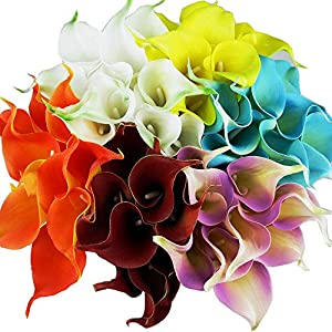 Winterworm Latex Real Touch Artificial Calla Lily Flower Bouquet Wedding Party Home Garden Restaurant Decoration - Bunch of 10 6