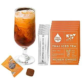 Tea Drops Thai Iced Tea | Authentic Thai Tea Mix | Flavored Black Ice Tea + Condensed Milk Packet | Loose Leaf Tea 5 Pack - Best Flavor