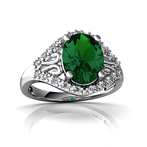 14kt White Gold Lab Emerald and Diamond 9x7mm Oval Antique Style Ring - Size 4 14kt Gold 9x7 Emerald