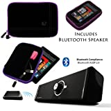 Drum BLACK with PURPLE Edge and Back Pocket Carrying Sleeve For Samsung Galaxy Tab 3 Android Tablet 7-inch Display Thinner Bezel + Supertooth Disco Bluetooth Speaker with AUX Cable