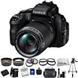 Fujifilm FinePix HS50EXR Digital Camera Bundle Kit Includes: 0.43x Wide Angle Lens, 2.2x Telephoto Lens, 3 Piece Filter Kit (UV-CPL-FLD), 4 Piece Macro Close up lens Set (+1,+2,+4,+10), 16GB Memory Card, Extended Life Replacement Battery, Rapid Charger, Carrying Case, Tripod & More