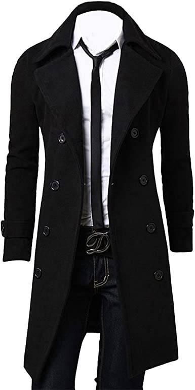 Liveinu Mens Winter Pea Coat Slim Fit Long Cotton Trench Coats Overcoat