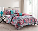 unique full bedding - VCNY Home Full/Queen Size Comforter Set in Multicolor Bohemian Style Paisley 5 Pc Set w/Decorative Pillows