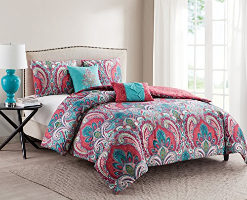 Full/Queen Size Comforter Set in Multicolor Bohemian Style Paisley 5 Pc Set w/ Decorative Pillows - Rich in exquisite detail, the Casa Re`al Reversible Comforter Set showcases a damask design on one side and a two-toned print the other-two boho-chic styles in one. Set includes one comforter set, two standard shams, and two decorative pillows in a super soft microfiber material that will keep you comfortable year round. Full/Queen Comforter Bedding includes: Comforter: 90 inches x 90 inches; Standard Shams: 20 inches x 26 inches; Decorative Pillows: 12 inches x 16 inches and 16 inches x 16 inches - comforter-sets, bedroom-sheets-comforters, bedroom - 510SQ9Ff2fL -