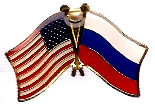 (Pack of 3 Russia & US Crossed Double Flag Lapel Pins, Russian & American Friendship Pin Badge)