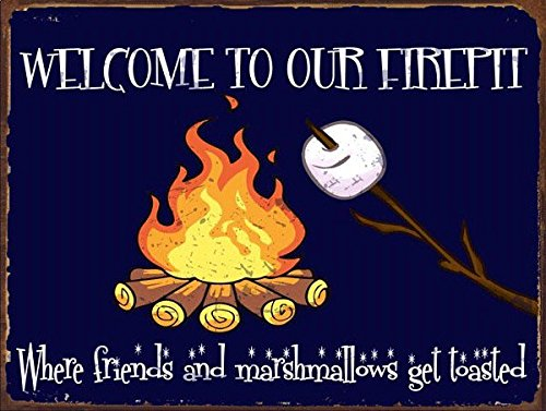 Sun Protected Welcome to our Firepit Metal Sign, Autumn, Rustic Décor, Thanksgiving, Fall,