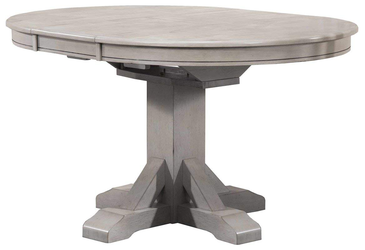 Wood Dining Table with 1 Leaf - Trestle Pedestal Base Dining Table - Gray