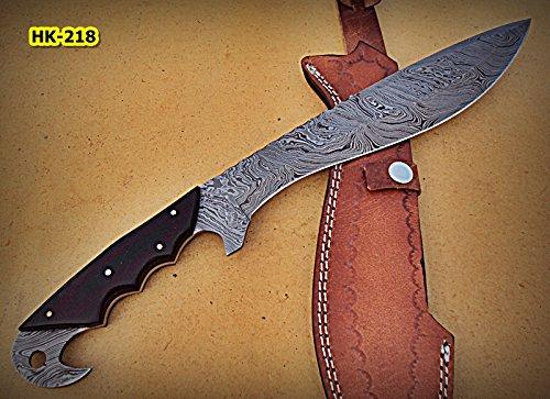 - Poshland REG-HK-218, Handmade Full Tang Damascus Steel 15.40 Inches Bowie Knife - Black Brown Micarta Handle