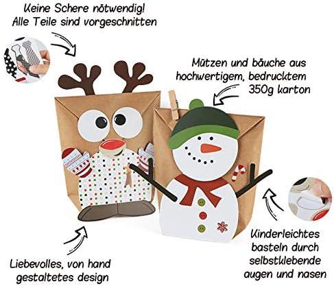 Weihnachten Parteien Geschenkt/üten mit Aufkleber zum Gestalten und selber F/üllen ABSOFINE 24 Adventskalender zum Bef/üllen-Papiert/üten S/ü/ßigkeiten Eulen Rentiere Weihnachtsmann Schneemann