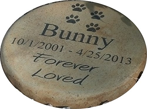 Personalized Engraved Pet Memorial Step Stone 7.5'' Diameter 'Forever Loved by Memories to Stone