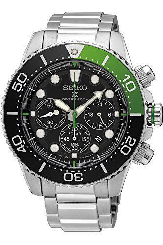 SEIKO Prospex Sea Diver's 200m Chronograph Solar Sports Watch Green SSC615P1 ()