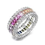 NYC Sterling Women's Luxury Luxury Emerald Cut Rainbow Eternity Band in Sterling Silver (7)