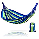 Hammock Sky Brazilian Double Hammock – Two Person Bed for Backyard, Porch, Outdoor and Indoor Use – Soft Woven Cotton Fabric for Supreme Comfort (Blue & Green Stripes) For Sale