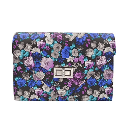 Floral Purse Evening (Elegant PU Leather Floral Turnlock Flap Clutch Bag Handbag, Purple)