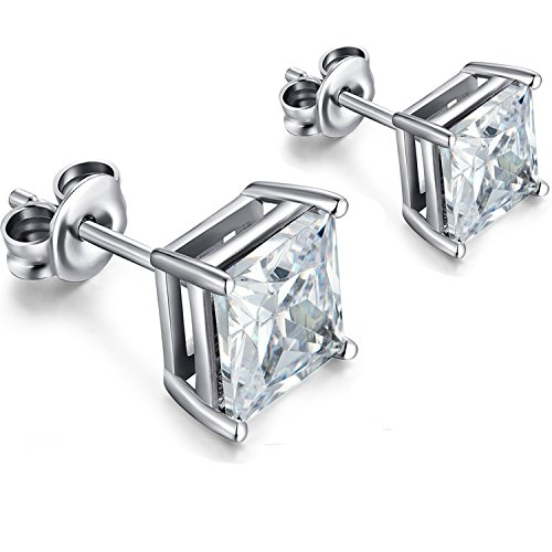 Square Mens Earrings Princess Cut Sterling Silver Square Cubic Zirconia Stud Earrings Mens Square Diamond Earrings 4mm Diamond Studs Princess Cut Women Square Earrings Nickel Free Fake Diamond Earring
