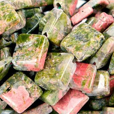 9mm Unakite Faceted Square Beads, 14 inch