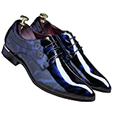 SLJ Men's Tuxedo Dress Shoes Fashion Perforated Oxfords Dress Shoes