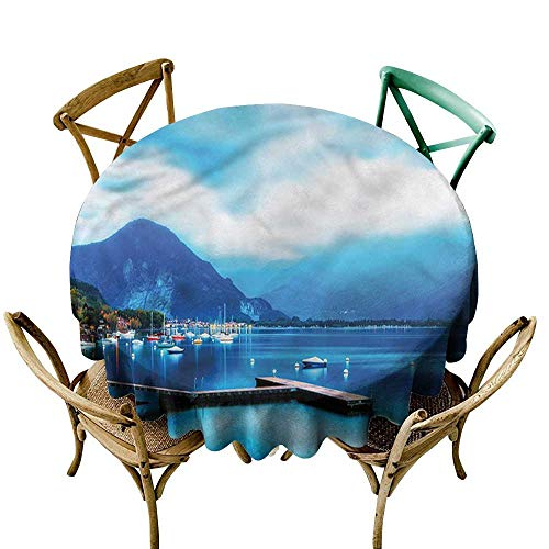 - Luunins Round Tablecloth Black Country,Italian Harbor Village D70,for Umbrella Table