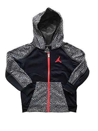 Nike Youth/Toddler Boys Air Jordan Therma Fit Full Zip Hoodie/Hooded Jacket (4/96~104CM/3~4 YRS/Youth XS, Black/Grey/Red - Hoody Air Jacket Jordan