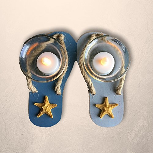 Beach Decor - Flip Flop Candle Holders - 2 White LED Candles Included - Orange Starfish on Blue and Gray Wooden Flip-Flops