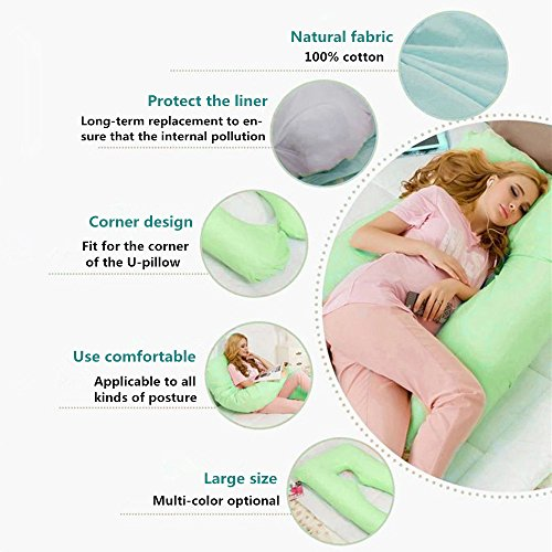 """Maternity / Pregnancy U Shape Pillow Cover, Cotton Soft Full Body Pillow Replacement Cloth whth Zippered Removable Case, General Size 55.1""""L x 31.1""""W (green)"""