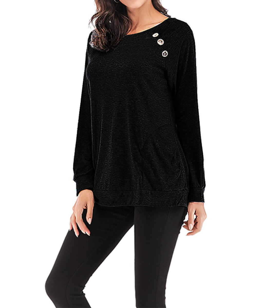 Women\'s Long Sleeve T Shirt Crew Neck Button Casual Blouses Tops with Pocket Black, 3XL