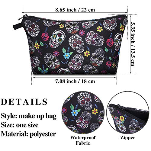 4 Pieces Cosmetic Bag Sugar Skull Makeup Bags Travel Makeup Pouch Skull Flowers Toiletry Bag for Women Cosmetics Keychains and More Daily Items