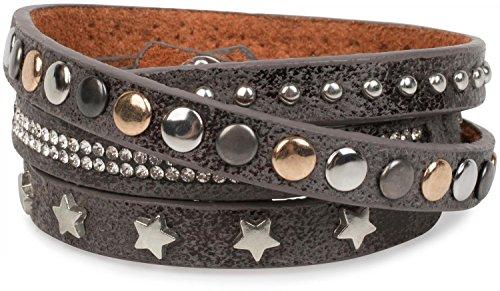 styleBREAKER Wickelarmband mit Strass, verschiedenen Nieten und Sterne, Armband, Damen 05040029, Farbe:Antik-Grau