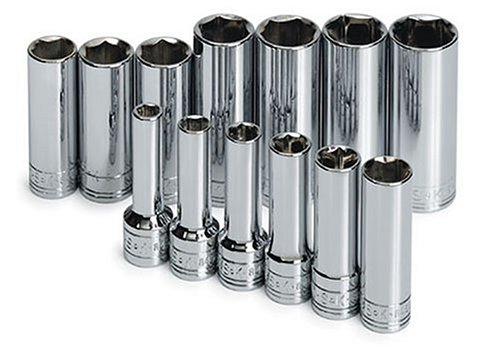 SK 1863 13 Piece 3/8-Inch Drive 6 Point 7-Millimeter to 19-Millimeter Extra Long Deep Socket Set ()