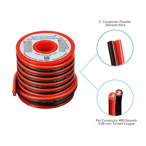 Silicone 14 Awg Wire (BNTECHGO 14 Gauge Flexible 2 Conductor Parallel Silicone Wire Spool Red Black High Resistant 200 deg C 600V for Single Color LED Strip Extension Cable Cord,Model,Lead Wire 20ft Stranded Copper Wire)