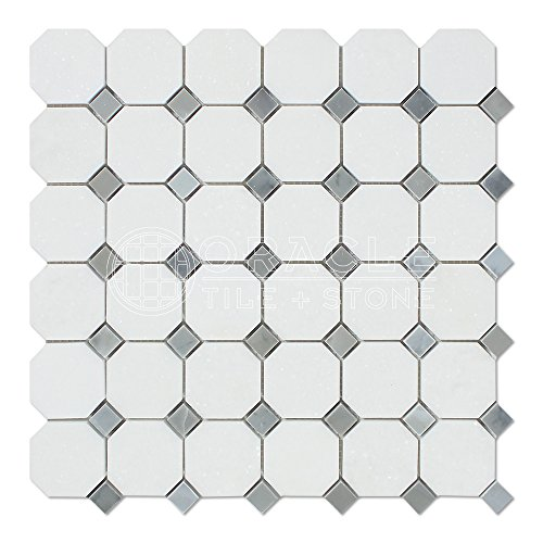 Thassos White Greek Marble Octagon Mosaic Tile with Bardiglio Blue & Gray Marble Dots, Honed ()