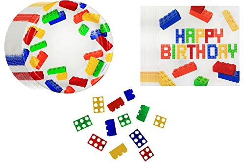 Bricks Party Pack ~ 40 Pc Dinner Plates, Dinner Napkins & Bonus Confetti (Minecraft At Party City)