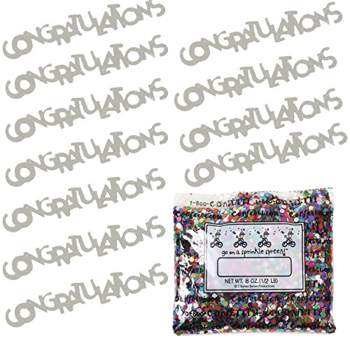 Confetti Word Congratulations Silver - One Pound Bag (16 oz) Free Priority Mail --- (CCP7837) by Jimmy Jems