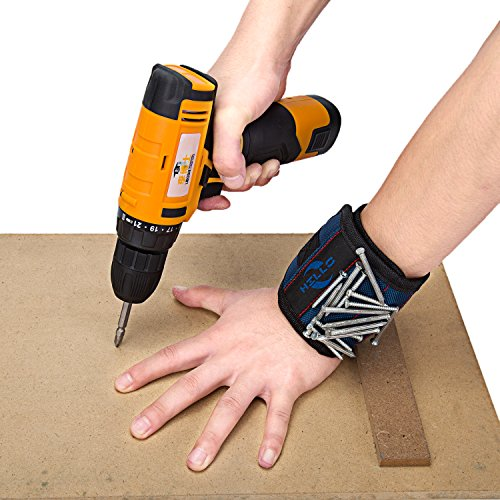 Hillo- Magnetic Wristband (1 Pack) Strong Magnets Keeps Screws, Nails and Light Tools Handy While Working.