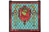 Meyda Tiffany 36143 Victorian Shield/Twin Torch Window Panel, 20'' Width x 20'' Height